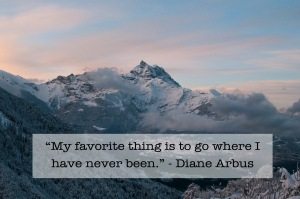 My favorite thing is to go where I have never been. - Diane Arbus